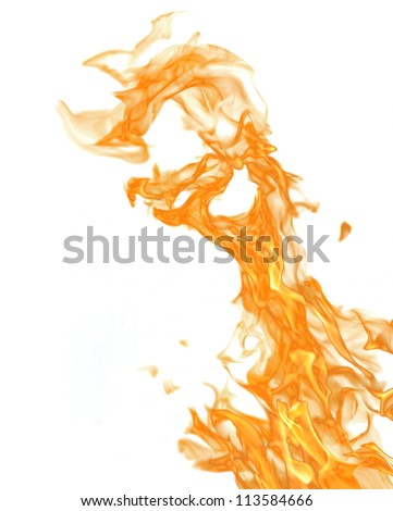 orange flame isolated on white background - stock photo