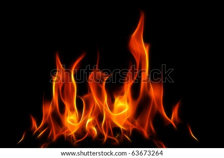 Orange Flames A fractal filtered image of orange flames. Horizontal. - stock photo