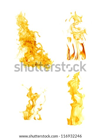 orange flames isolated on white background - stock photo