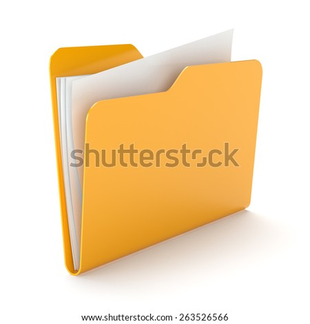 Orange folder with a documents isolated on white. - stock photo