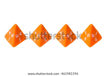 Orange four sided dice for board games