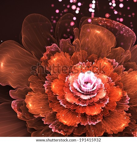 orange fractal flower, computer generated abstract illustration - stock photo