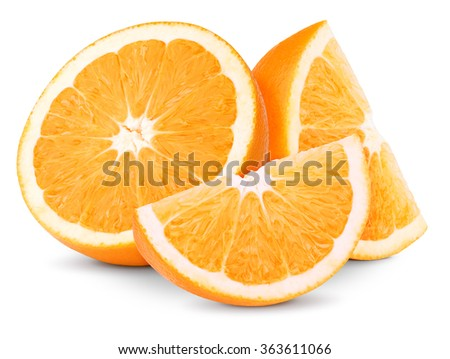 Orange fruit half and two segments or slices isolated on white background - stock photo