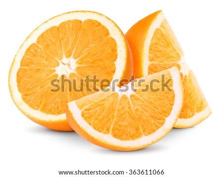 Orange fruit half and two segments or slices isolated on white background - stock photo