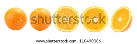 Orange fruit isolated on a white background + Clipping Path - stock photo