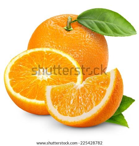Orange fruit isolated on white background.  - stock photo