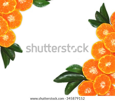 Orange fruit on leaves texture, Isolated on white background - stock photo