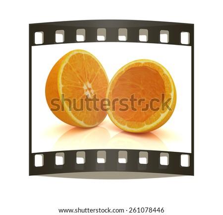 orange fruit on white background. The film strip - stock photo