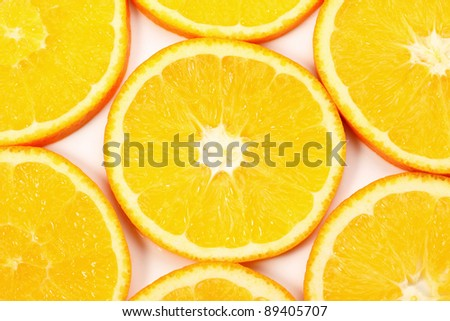 Orange fruit slice background. Juicy orange