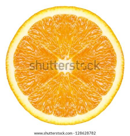 Orange fruit slice isolated - stock photo
