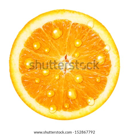 Orange fruit slice with water drops isolated on white background.