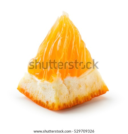 Orange fruit. Small slice isolated on white. With clipping path.