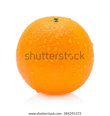Orange fruit with drops isolated on white background - stock photo