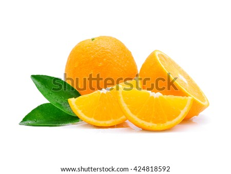 Orange fruit with drops isolated on white background