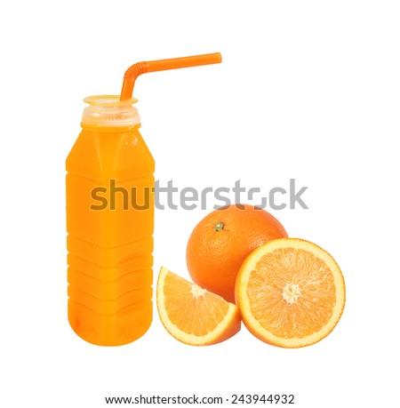 Orange fruit with Orange juice in plastic bottle on white background - stock photo
