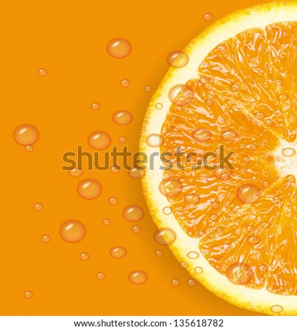 Orange fruit with water drops background. Raster version. - stock photo