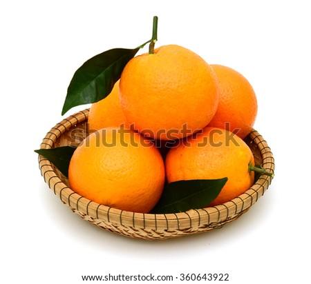 Orange fruits isolated on white background - stock photo