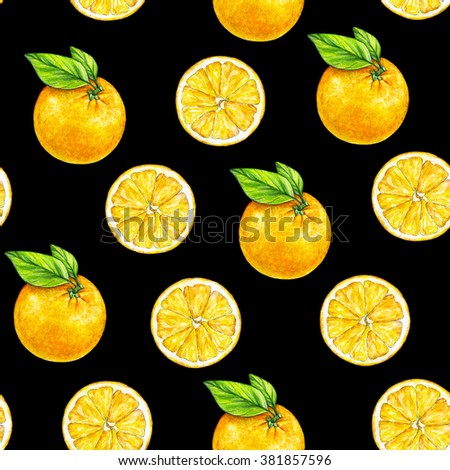 Orange fruits ripe with green leaves. Watercolor drawing. Handwork. Tropical fruit. Healthy food. Seamless pattern for design - stock photo