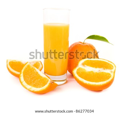 orange fruits with green leaves on white