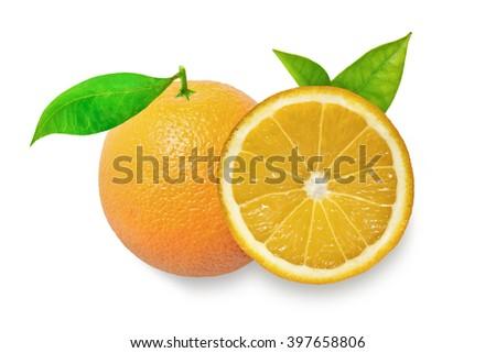 Orange fruits with leaves isolated on white background. Photography of orange. Many oranges like icon, orange image, orange picture, orange icon flat, orange for web. Cut half of the orange - stock photo