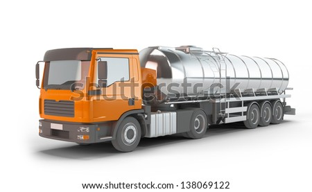 Orange Fuel Tanker Truck isolated on white background - stock photo