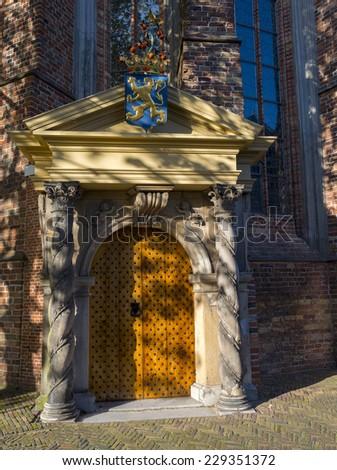 Orange gate of the Jacobin church in Leeuwarden - stock photo