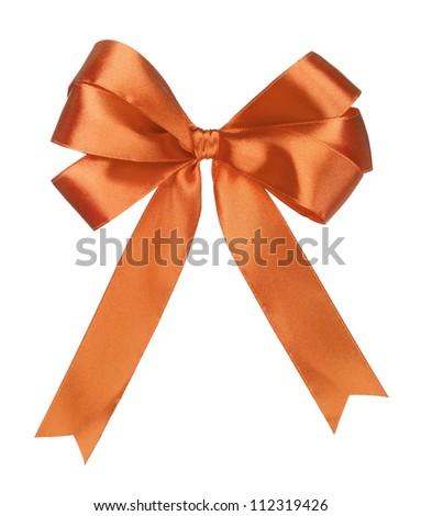 orange gift satin ribbon bow on white background - stock photo