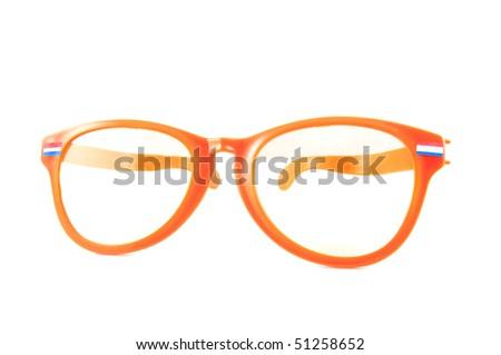 Orange glasses for Dutch WK, isolated on white background - stock photo