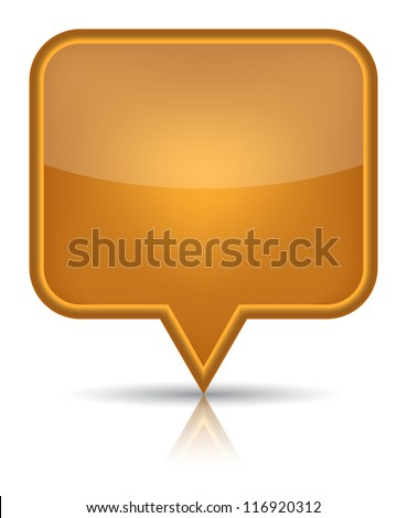 Orange glossy blank map pin icon web button. Rounded rectangle shape with black shadow and reflection on white background. (Raster version) - stock photo