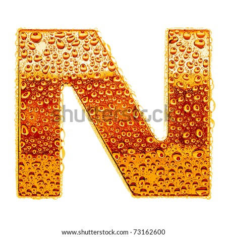 Orange gold alphabet symbol - letter N. Water splashes and drops on glossy metal. Isolated on white - stock photo
