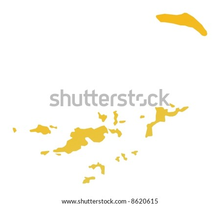 Orange gradient British Virgin Islands map. Detailed, Mercator projection. - stock photo