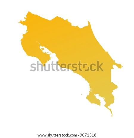 Orange gradient Costa Rica map. Detailed, Mercator projection. - stock photo