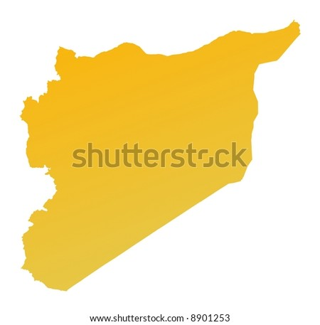 Orange gradient Syria map. Detailed, Mercator projection. - stock photo