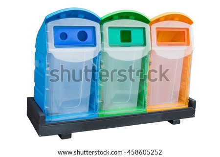 orange, green and blue color Garbage Trash Bin isolated on white background - stock photo
