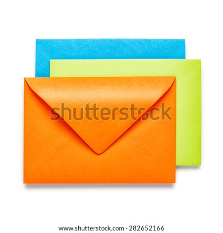 Orange, green and blue envelopes on white background, clipping path included - stock photo