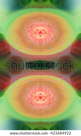 Orange green red yellow multicolored wave spiral wave twirl twist sonic design sound design pattern background backdrop intricate detailed  - stock photo
