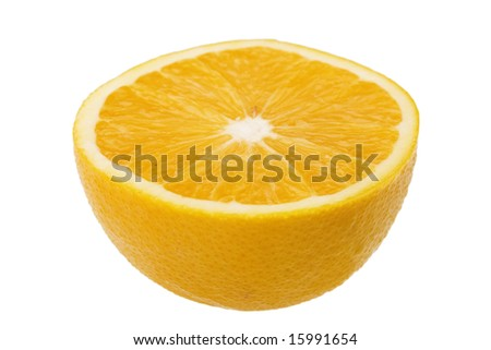 Orange half isolated against white background