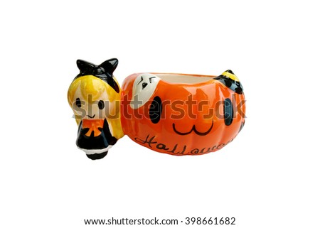 Orange Halloween coffee cup isolated on white background - stock photo