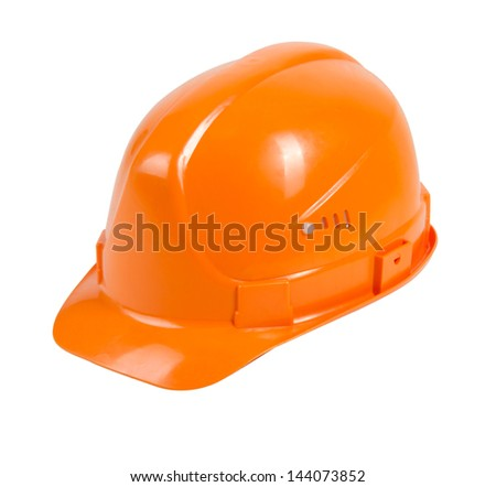 orange hard hat isolated on white background with path - stock photo