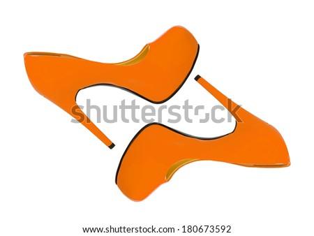 orange high heeled woman shoes isolated on white background - stock photo