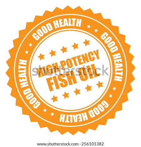 orange high potency fish oil good health sticker, badge, icon, stamp, label isolated on white  - stock photo