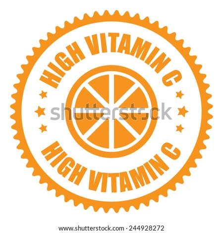 Orange High Vitamin C Icon, Sticker, Badge or Label Isolated on White Background  - stock photo
