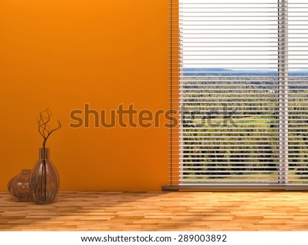 orange interior with large window - stock photo