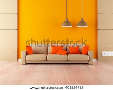 Orange interior with sofa. 3d illustration - stock photo