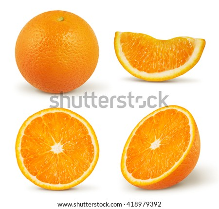 Orange isolated on white with clipping path - stock photo