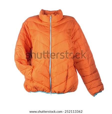orange jacket isolated over white background closeup - stock photo