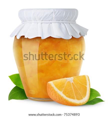 Orange jam isolated on white - stock photo