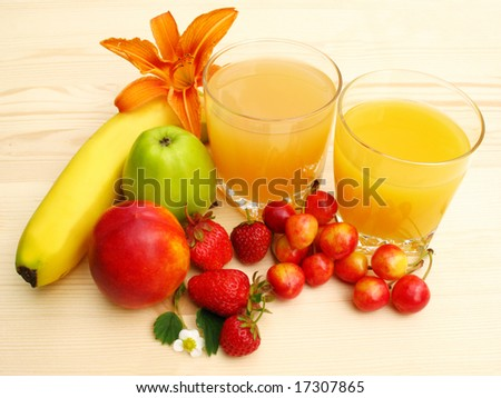 Orange juice and fresh fruit
