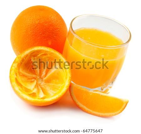 orange juice and orange fruit over white - stock photo