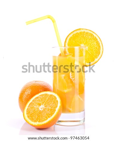 orange juice and oranges isolated on white